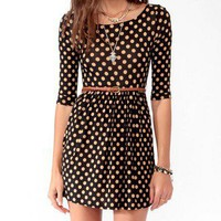 Polka Dot Skater Dress w/ Belt forver21