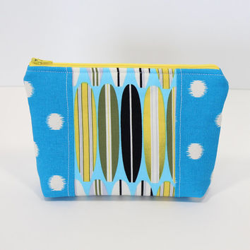 Cosmetic Bag Zippered Makeup Pouch Blue Polka Dots with Surfboard Center Accent
