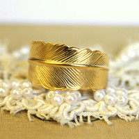 Adjustable ring feather  plated 14k gold - chic ring , romantic style