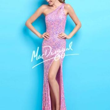 Sparkle in this one shoulder gown completely covered in dress matching sequins. This dress features a high slit. #girligirlboutique