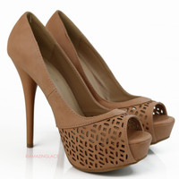 Strut Your Stuff Camel Peep Toe Heels