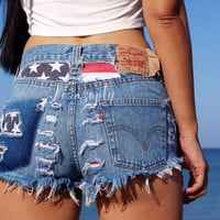 Levi High waisted denim shorts US American flag Stars and Stripes Red White and Blue Hipster Tumblr clothing by Jeansonly