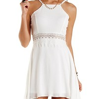 Lace-Waist Racer Front Skater Dress by Charlotte Russe - Off White