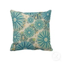 Fun Retro Flower Pattern Pillow