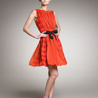 Bottega Veneta - Pleated Bow-Waist Dress - Bergdorf Goodman