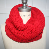 Red Infinity Scarf FREE SHIPPING Winter Fashion Neckwarmer Loop Scarf -By  PIYOYO