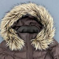 GIRLS HOLLISTER DOWN FILLED BROWN PUFF JACKET WINTER COAT  HOODIE size (S)