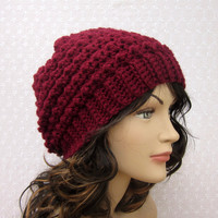 Wine Slouchy Crochet Hat - Womens Slouch Beanie -  Burgundy Oversized Cap - Fall Winter Fashion Accessories