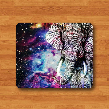 Elephant Galaxy Nebula Space Big Animal Art Drawing Mouse Pad Black Drawing Desk Deco Rubber
