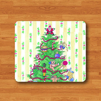 Christmas Tree With Gift Monogram Cartoon Green Vintage Doll Mouse Pad Mat Wood Pattern Help Desk Deco Rubber Gift