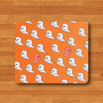 Little Ghost Halloween MOUSE PAD Funny Orange Work Decor MousePad Mat Rectangle Art Painting Pattern Cartoon Chirstmas Gift