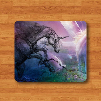 Drawing Unicorn Horse Paint Lighting Mouse Pad Matte MousePad Pencil Desk Accessories Deco Personalized Computer Mouse Pad