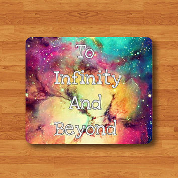 Quote Mouse Pad To INFINITY And Beyond Galaxy MousePad Fabric Rectangle Matte Personalized Gift Custom Desk Computer Pad Natural Rubber Pad