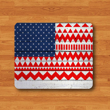American Flag Wood Aztec Tribal Pattern Mouse Pad Wood Wooden Desk Deco Work Pad Personal Gift Vintage Computer MousePad Indian Style