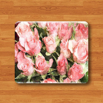Pink Watercolor Rose Flower Drawing Art Mouse Pad Floral Rose Painting MousePad Rectangle Matt Personalized Gift Desk Deco Chirstmas Gift
