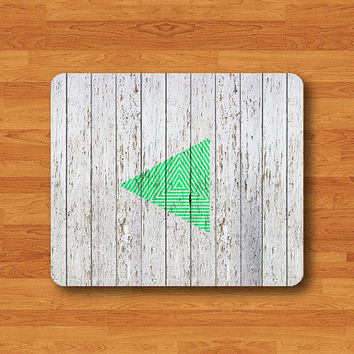 Geometric Triangle Mint  Mouse Pad Art Handmade Wood Printed MousePad Rectangle Matte Personalized Gift Custom Desk Computer Pad Wooden Gift