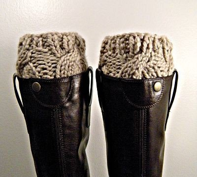 Boot Cuffs in cremini chunky knits by KittyDune on Etsy