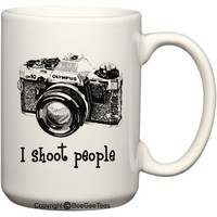 I shoot people - Photography (Olympus) Camera 15 oz Funny Mug by BeeGeeTees (15 oz)
