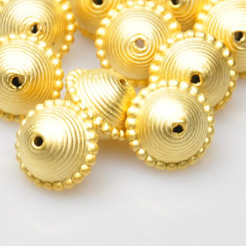 2 Pieces Matte Gold Ball Spacer Beads, Gold Plated Jewelry Spacers, Jewelry Findings, Jewelry Making Supply