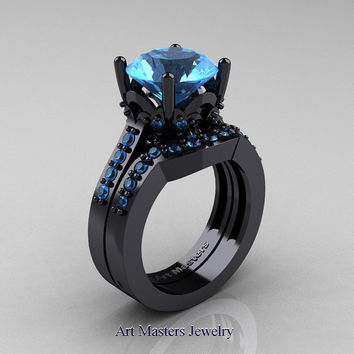Classic 14K Black Gold 3.0 Carat Blue Topaz Solitaire Wedding Ring Wedding Band Set R301S-14KBGBT