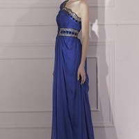 Tencel and Malay Satin Beaded One-Shoulder Dress 80966   from Locascio