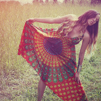 Handmade Hippie Dress, NEW LENGTH, Festival Dress, Short Summer Dress, Bohemian, Aztec, Peacock, Bridesmaid, Maternity, Festival