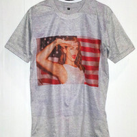 Lana Del Rey T-Shirt -- National Anthem American Flag Shirt Rock T-Shirt Women T-Shirt Men T-Shirt Unisex T-Shirt Gray T-Shirt Size M