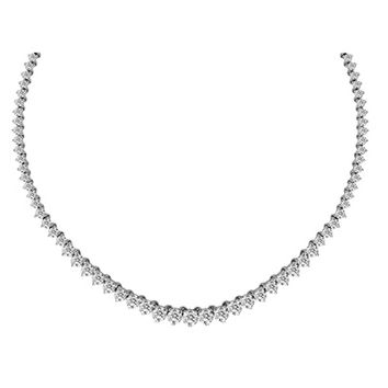 10-1/2 CT. T.W. Graduated Diamond Riviera Tennis Necklace in 14K White Gold - 17