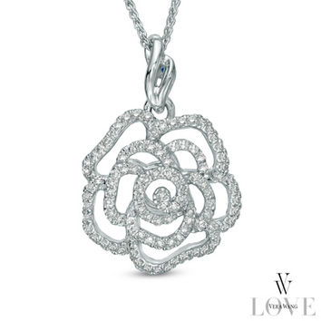 Vera Wang LOVE Collection 1/3 CT. T.W. Diamond Rose Pendant in 14K White Gold