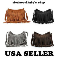 4 colors HIPPIE Suede Fringe Tassel Cross Body Messenger Bag Handbag Purse Boho