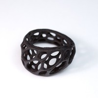 2layer twist ring 3dprinted nylon plastic black by nervoussystem