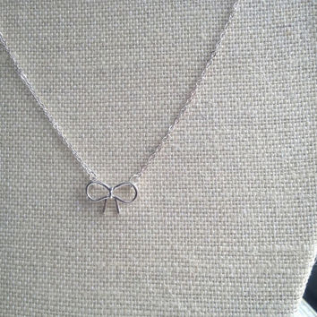 Tiny Sterling Silver Bow Pendant Necklace on Sterling Silver Chain for Women