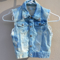 Bleach tie dyed silver studded crop jean vest