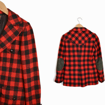 Vintage Red Plaid Elbow Patch Jacket  - women's small
