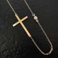 14K Gold Kelly Ripa Sideways Cross Necklace With Genuine Diamond - 16&quot;