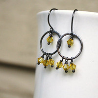Yellow Topaz Earrings - Artisan Chandelier Earrings - Crystal Birthstone November