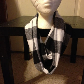 Women's White and Black Flannel Plaid Infinity Scarf from Nicole Ray