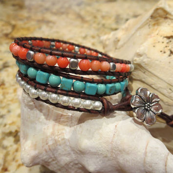 Think Spring Summer with this Beachy 3 Wrap Bracelet with Flower Button