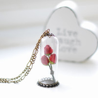 Red Rose Glass Vial Necklace Valentine's Day Gift Love Romantic Kitsch Miniature Terrarium Rose Bouquet Ready to ship