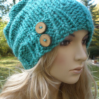 Caribbean Sea Blue Green Slouchy Hand Knit Oversized Ribbed Woodsy Beanie Hat With Wood Buttons