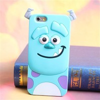 Topit Cute Cartoon 3d Blue Monster Jump Tigger Series Soft Silicone Back Cases Covers for Apple for Iphone 6 (4.7-inch) + 1 Pcs Wristband (Blue monster)