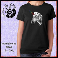 Zebracorn Womens T Shirt or Tank in sizes S - 3XL with Rainbow Rhinestone Unicorn Horn