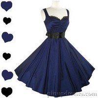 New Blue Sweetheart Lace Neckline Retro Pinup Full Skirt Swing Dress