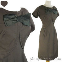 Vintage 50s 60s Dress Mad Men Rockabilly Sheath Big Bow Medium