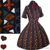 Vintage 50s 60s Hawaiian Batik Tiki Cotton Full Skirt Day Dress Small