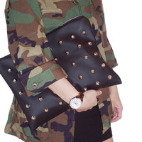 Studded Black Leather Clutch