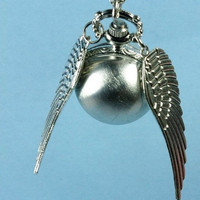 harry potter silver snitch necklace Enchanted Steampunk Double Sided wings Pocket Watch Necklace