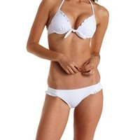 Knotted Ruffle Halter Bikini Top by Charlotte Russe - White