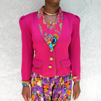 90s Jewel Tone Sweater Blazer - Vintage 90s Bright FUCHSIA Fitted Jacket w Gem Fabric Collar, Cuffs, and Chunky Gold Buttons - Size 6