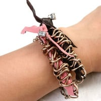 Vintage Brown Gold Plated Chain Fashion Bracelet Sheep Skin Leather inside